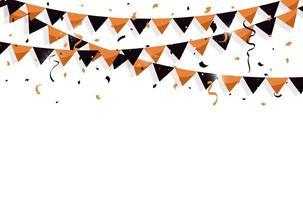sinalizadores de estamenha colorida com confete e fitas para o dia das bruxas, aniversário, celebração, carnaval, aniversário e festa de feriado em fundo branco. ilustração vetorial vetor