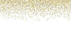 glitter cintilante. caindo ouro em pó isolado no fundo branco para festa, casamento, cartazes, cartão, Natal, ano novo, feliz aniversário. ilustração vetorial vetor