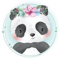 panda fofo com ilustração floral vetor
