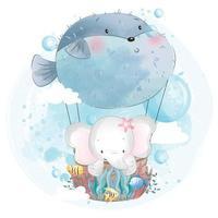 elefante fofo voando com ilustração de balão vetor