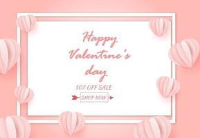 dia dos namorados abstrato venda fundo com coração feito de origami.