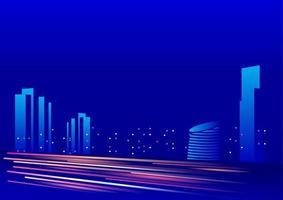 fundo azul céu noturno com iluminação do edifício ilustração vetorial forma expressa do carro vetor