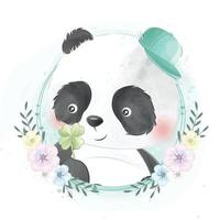 urso fofo com ilustração floral vetor