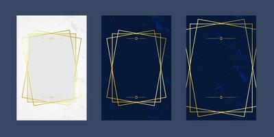cartões de convite branco azul mármore linha branca luxo ouro textura fundo e padrão geométrico modelo de design de vetor