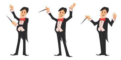 maestro de orquestra em diferentes poses definido vetor