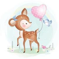 veado fofo com pássaro e ilustração de balão de coração vetor