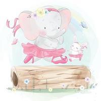 ilustração de elefante fofo com coelhinho em roupas de balé vetor