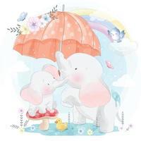 ilustração de mãe e bebê elefante fofo vetor