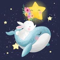 ilustração de baleia fofa com coelho