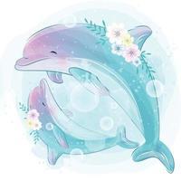ilustração de mãe e bebê lindo golfinho vetor