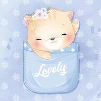 ilustração de gatinho fofo sentado dentro do bolso vetor