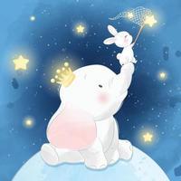 elefante fofo com ilustração de coelho na lua vetor