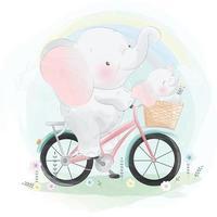 elefante fofo pai e filho andando de bicicleta vetor