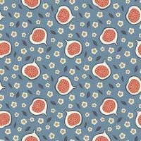 bonito padrão sem emenda com figos e flores. desenho de tecido. conceito de verão. vetor