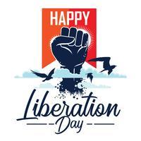 Conceito feliz da ilustração do dia da libertação vetor
