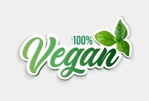 símbolo vegan. 100 vegan. ilustração vetorial. vetor