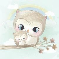 ilustração de mãe e bebê coruja fofa vetor