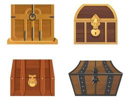 conjunto de baús de tesouro de madeira vetor