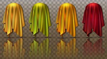 coleção de tecidos levitando com apresentação surpresa escondida de um novo produto vetor