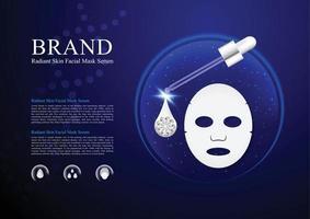 Cosméticos pele máscara facial soro com droper e desenho vetorial de fundo azul vetor