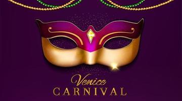 Projeto luxuoso da festa de carnaval de Veneza com máscara ilustração 3D vetor