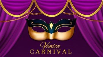 carnaval ou mascarada colombina máscara dourada vetor