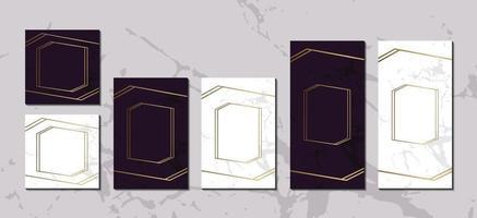 coleção de fundo de mármore magenta branco de cartões de convite de luxo com moldura de linha dourada para vetor de pôster de capa de mensagem de texto