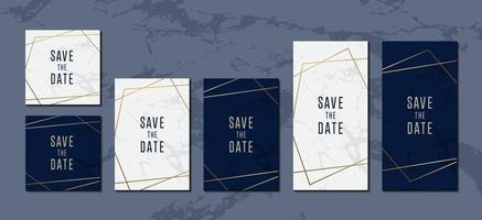 cartões de convite coleção elegante de fundo de mármore azul branco com linha dourada glitter para ilustração de cartaz de capa vetor