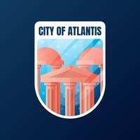 A cidade perdida do projeto da etiqueta de Atlantis vetor