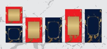 cartão chinês com moldura de ouro sobre fundo de mármore azul vermelho coleção luxuosa para design de vetor de mensagem de texto