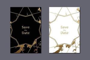 cartão de convite de casamento de luxo com fundo de mármore branco e preto e ilustração vetorial de moldura geométrica dourada vetor