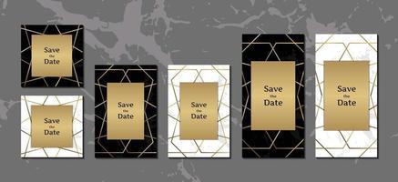 coleção de fundo de mármore preto e branco elegante cartões de convite com ilustração vetorial de moldura geométrica dourada vetor