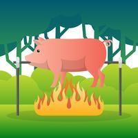 Porco assar sobre uma ilustração de fogo vetor