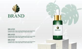 Pódio de mármore branco para exposição de produtos cosméticos com fundo limpo e ilustração vetorial de folha verde vetor