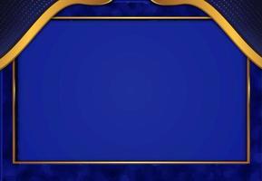papel cortado fundo dourado luxuoso com textura de metal azul estilo abstrato 3d vetor