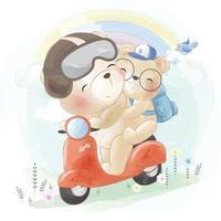 ilustração de pai e filho urso fofo vetor