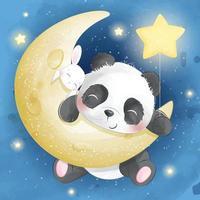 ilustração de panda fofo com coelho na lua vetor