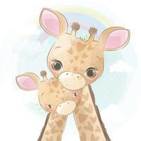 ilustração de mãe girafa fofa e bebê vetor