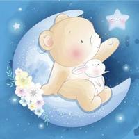 urso fofo com ilustração de coelhinho