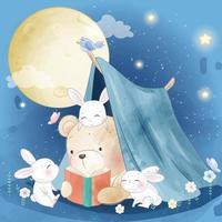 urso fofo com ilustração de coelhinho vetor