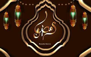 tradução ramadan kareem ramadan kareem ouro meia lanterna árabe islâmica vetor