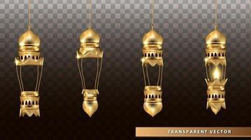 lâmpadas de brilho árabes lanternas de ouro vetor