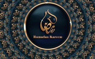 desenho de mandala dourada caligrafia ramadan kareem vetor
