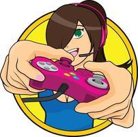 gamer girl - ilustração vetorial vetor