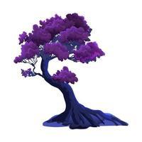 ilustração com árvore fantasia curva roxa isolada no fundo branco. folhagem cor de vinho ou violeta e cores fabulosas à noite vetor