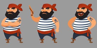 pirata barbudo em diferentes poses. vetor