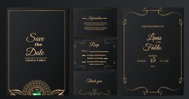 coleção de modelos de cartão de convite de casamento de luxo vetor