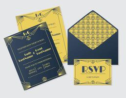 Vetor de cartão de casamento Art Deco amarelo azul