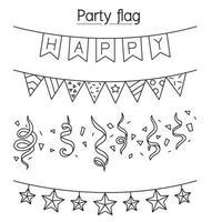 bandeira de festa, flâmula, decoração, ilustração vetorial de estamenha design gráfico em estilo de linha fina