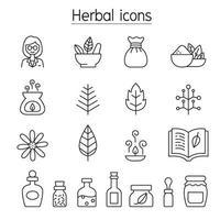 ícones de ervas em estilo de linha fina